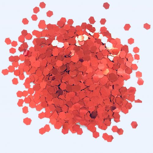 3mm RED HEX GLITTER POT - 10g